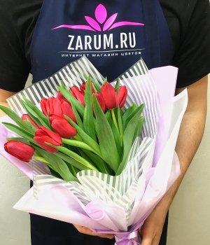 Букет из красных тюльпанов ( 25 шт ) #1782