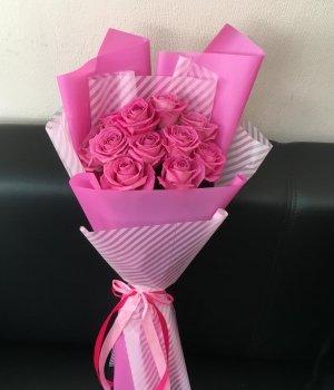 Букет из 11 розовых роз (50 см) #1602