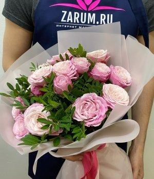 Букет из розовых пионовидных роз Леди Бомбастик ( 9 шт) #946