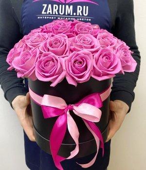Розовые розы в черной шляпной коробке (29шт) #1017