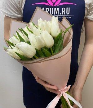 Букет из белых тюльпанов (25 шт) #51