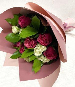 Микс из розовых и кустовых роз (40 см ) #1867