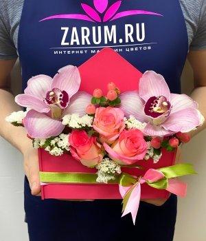 Деревянный конверт  с розами Джумилия и орхидеями #1852