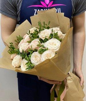 Букет из кремовых пионовидных роз (9 шт) #1620
