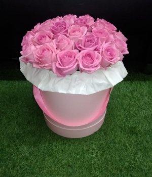 Розовые розы в розовой шляпной коробке (29 шт) #1016
