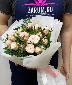 Букет из персиковых пионовидных роз (9шт) #999
