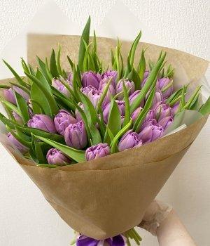 Букет из фиолетовых пионовидных тюльпанов (49 шт) #693
