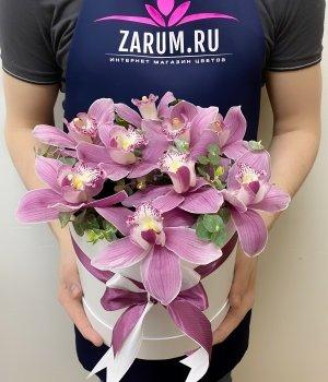 Орхидеи в белой шляпной коробке (9 шт ) #1443