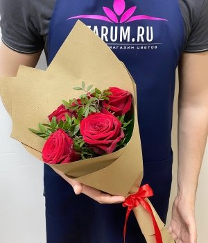Букет из 5 красных роз с зеленью (50 см) #1990