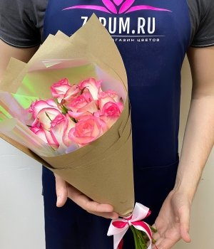 Букет из 9  роз Джумилия (50 см) #1371