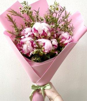 Букет из 5 розовых пионов и шамелациума #2000