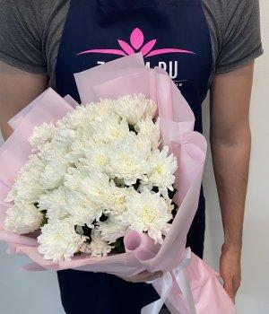 Букет из белых кустовых хризантем (9 шт) #1637