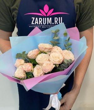 Букет из кремовых   пионовидных роз Бомбастик (9 шт ) #2160