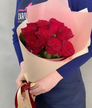Букет из 9 красных роз (50 см) #1168