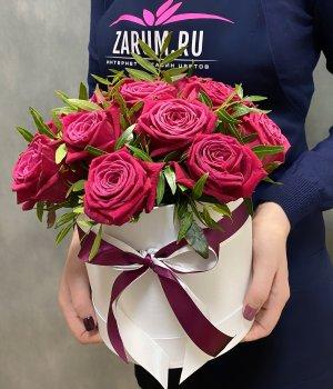 15 роз Шангрила в шляпной коробке #2211