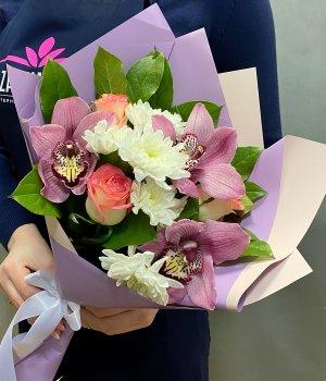 Микс из роз , орхидей и хризантемы #2321