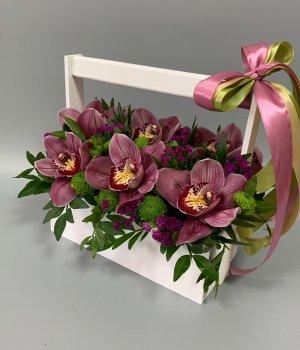 Авторский ящик с розовыми орхидеями #2470