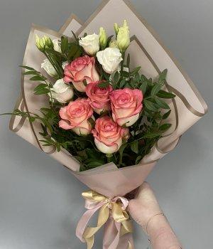 Микс из роз Джумилия и эустом #1907