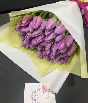 Букет из фиолетовых тюльпанов (49 шт) #923