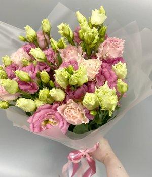 Букет из розовых эустом (9шт) #1564