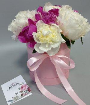 Микс из пионов в розовой шляпной коробке (19 шт) #998