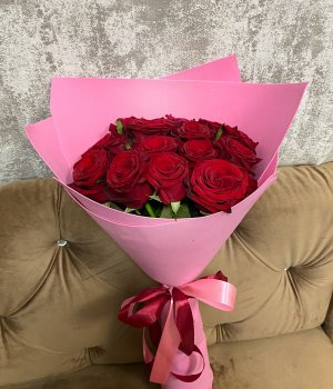 Букет из 15 красных роз (50 см ) #2609